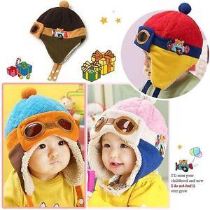 Girls Boys Pilot Cap Trendy Warm Winter Earflap Beanie Kids Baby ... 019289f53f7