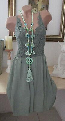 Häkel Kleid Träger Vintage Blogger Sommer Hippie Shirtkleid Rosa IBIZA 36 38 40