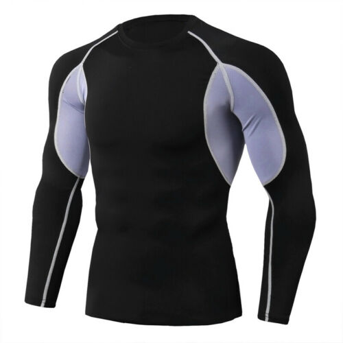 Mens Athletic Compression Shirts Workout Sports Top Long Sleeve Tights S ~ 3XL