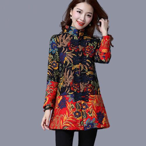 Fashion Women Chinese Vintage Ethnic Floral Print Coat Cotton Padded Jacket G13