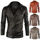 New Men's PU Leather Jacket  Slim Fit  Biker Motorcycle Jacket Coat Outwear Tops