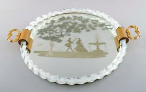 Murano-Italy-rectangular-tray-with-mirrored-plate-with-galant-scene