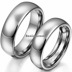 Polished-Shiny-Silver-Tone-Dome-Tungsten-Carbide-Ring-Men-039-s-Women-039-s-Wedding-Band