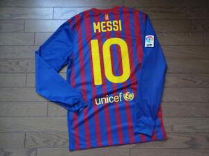 34dc55bab02 Barcelona  10 Messi 100% Original Jersey Shirt S 2011 12 Home Kit LS ...