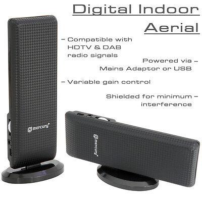 Amplified UHF/VHF/DAB FM Indoor Digital HD TV Aerial Antenna USB or Mains Power
