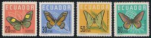 Ecuador-676-79-1961-Mariposas-butterfly-MH