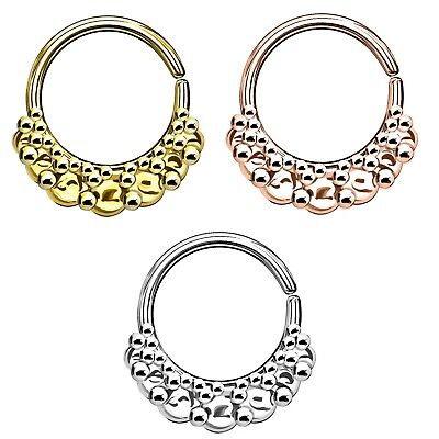 14KT White Gold Fixed Bead Ball Nose Ring Septum Hoop Daith Helix Cartilage 18G
