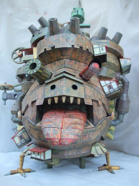 diy hayao miyazaki howl s moving castle 3d paper model kit flying