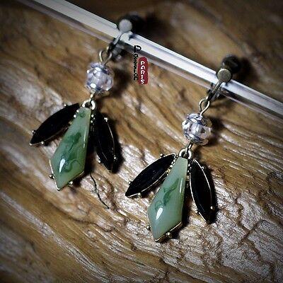 Boucles d/'Oreilles Clips Art Deco Triangle Vert Noir Original CC 3