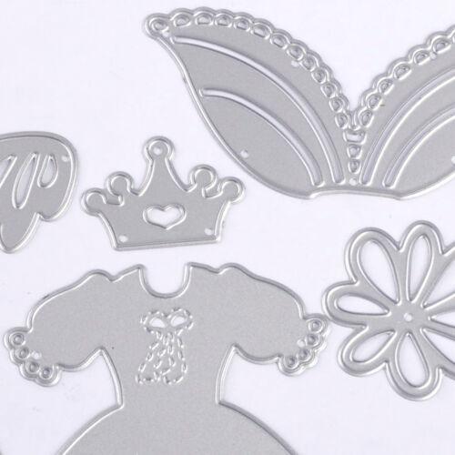 8Pcs Princess Dress Cutting Embossing Dies DIY Scrapbook Album Craft Paper Card