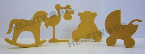 FLASH SALE 4 NURSEY//BABY SHAPES-STORK,TEDDY,PRAM,ROCKING HORSE IN MDF 18mm thick