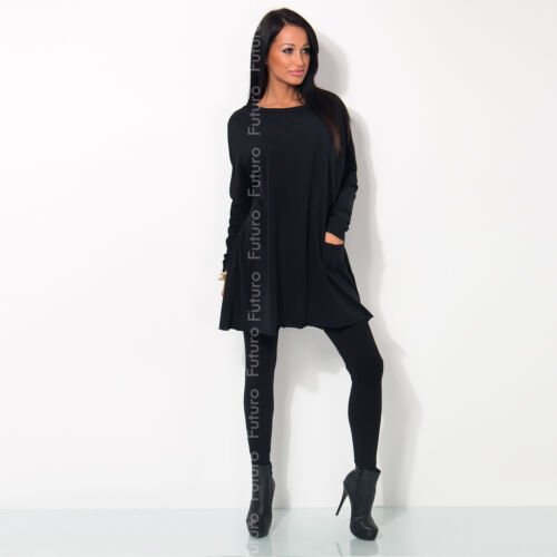 Ladies Warm Tunic With Pocket Boat Neck Shift Dress Long Sleeve Size 8-12 FT1377