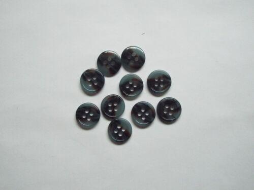 10pc 15mm Smokey Blue /& Grey Mock Horn Suit Cardigan Knitwear Coat Button 5668