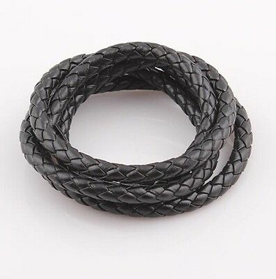 10meter Braided PU Leather Jewelry Cord 7mm Bracelet Necklace Cord String black