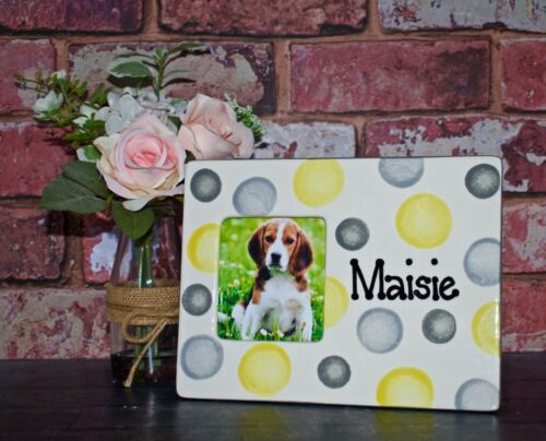 Hand painted Personalised ceramic cat kitten dog puppy pet photo picture frame
