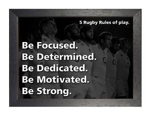 Rugby Inglaterra 4 Motivation Inspiración Póster Blanco Y Negro
