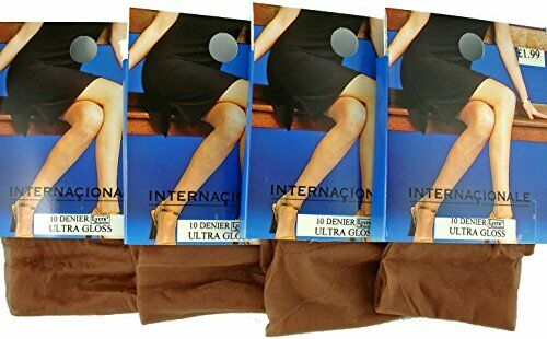 LADIES 10 DENIER ULTRA SHEER GLOSSY TIGHTS WITH LYCRA* 4 PAIRS