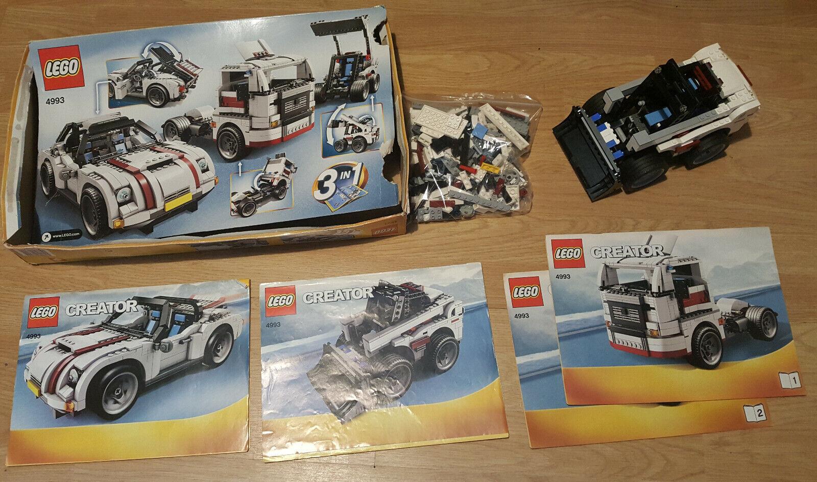 LEGO creator 4993  voiture, camion et tractopelle 3 en 1 100% complet, Instructions & Boîte  Dans votre attente