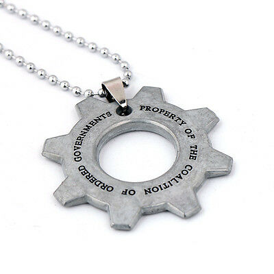 New Gears of War Cog Tag Chain Necklace Keychain Key Ring Pendant Collcet Gift