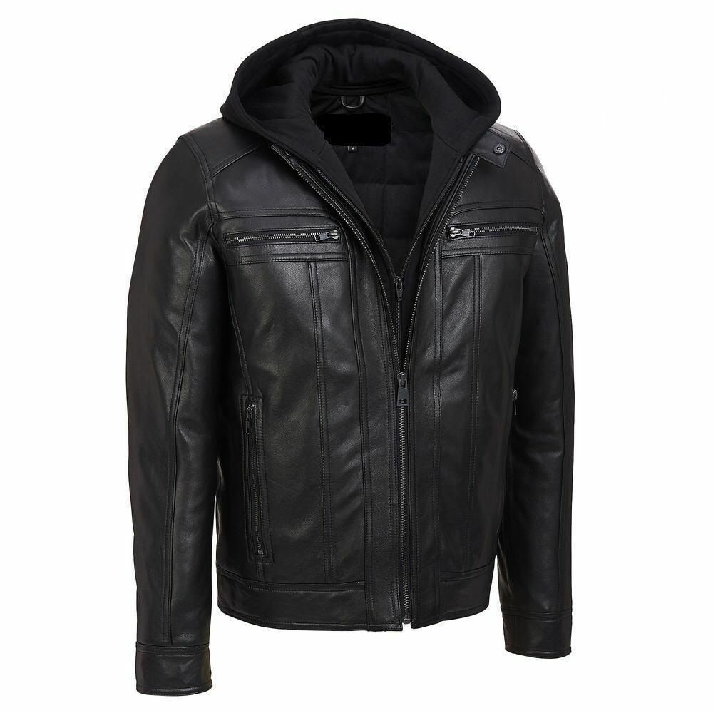 New Men Biker Motorcycle Slim Fit Hooded Genuine Leather Jacket