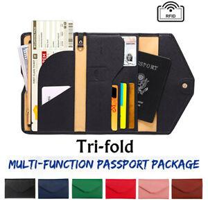 PU-Triple-Pli-Voyage-Portefeuille-Passeport-Carte-Document-Organisateur-etui