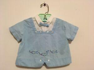 Vintage-Childrens-Shirt-Embroidered-Fish-Light-Blue-Boys-Shirt