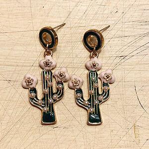 BETSEY-JOHNSON-Green-Pink-Enamel-CACTUS-Flower-Drop-Dangle-Cute-Earrings