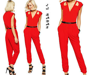 Overall-tuta-intera-donna-tutina-rossa-cinturino-jumpsuit-elegante-nuova