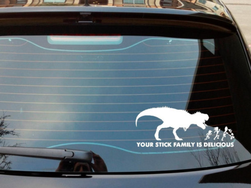 This decal shows a dinosaur chasing a stick family no prizes for guessing that they dont escape this decal isnt just cool its also funny