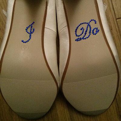 I DO Diamante Crystal Rhinestone Wedding Shoe sticker decal - Royal blue