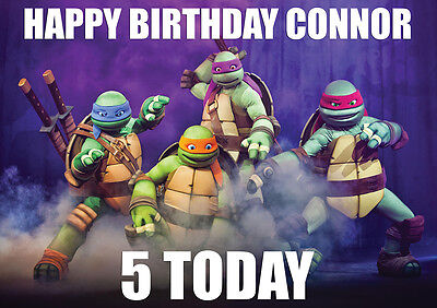 LARGE KIDS BIRTHDAY NINJA TURTLES POSTER BANNER PERSONALISED ANY NAME TEXT PHOTO