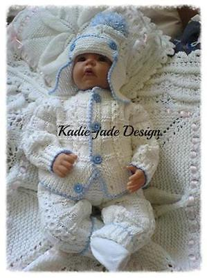 KNITTING PATTERN NO 96 for a Boys 3 piece Set 0-3m Baby or 20inch Reborn Doll