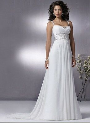 New Elegant Sweetheart Wedding Dresses Fashion Beaded Chiffon Bridal Gown*Custom