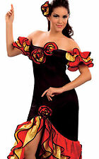 RUMBA LADY donna spagnola Salsa FLAMENCO MESSICANA DANCER FANCY DRESS 10 12 14