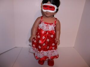 """Red Satin Nightgown, Mask and Slippers made for 18"""" American Girl Doll Clothes"""