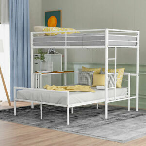 Twin Over Full Metal Bunk Bed Frame W Desk Ladder Sturdy Safety Rail Slats White Ebay