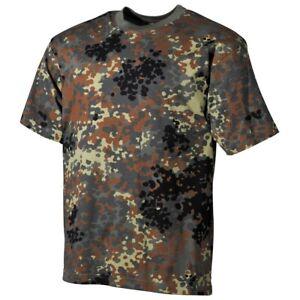 BW-Army-Style-T-Shirt-Flecktarn-Camo-Rundhals-Kurzarm-Baumwolle-Neu