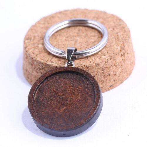 Round Wood Cabochon Cameo Keychain Base Settings DIY Blank Tray Key Chain Making