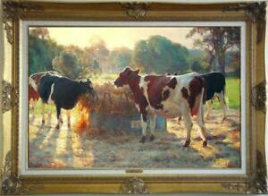 """Old Master-Art Antique Oil Painting Portrait animal cow on canvas 24""""x36"""""""