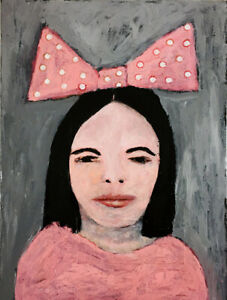 Original Pink Polka Dot Bow Happy Birthday Girl Painting Katie Jeanne Wood