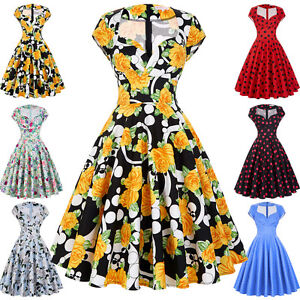 Housewife-50s-60s-Retro-Vintage-Floral-Dress-Swing-Pinup-Party-Cocktail-Dresses
