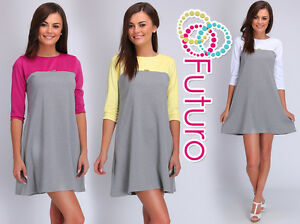 Womens Two Coloured Shift Dress With Zip 3/4 Sleeve Crew Neck Sizes 8 - 14 FA424