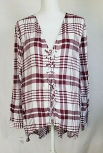 New-W-Tags-Anthropologie-Red-Plaid-Lace-Up-Top-Large