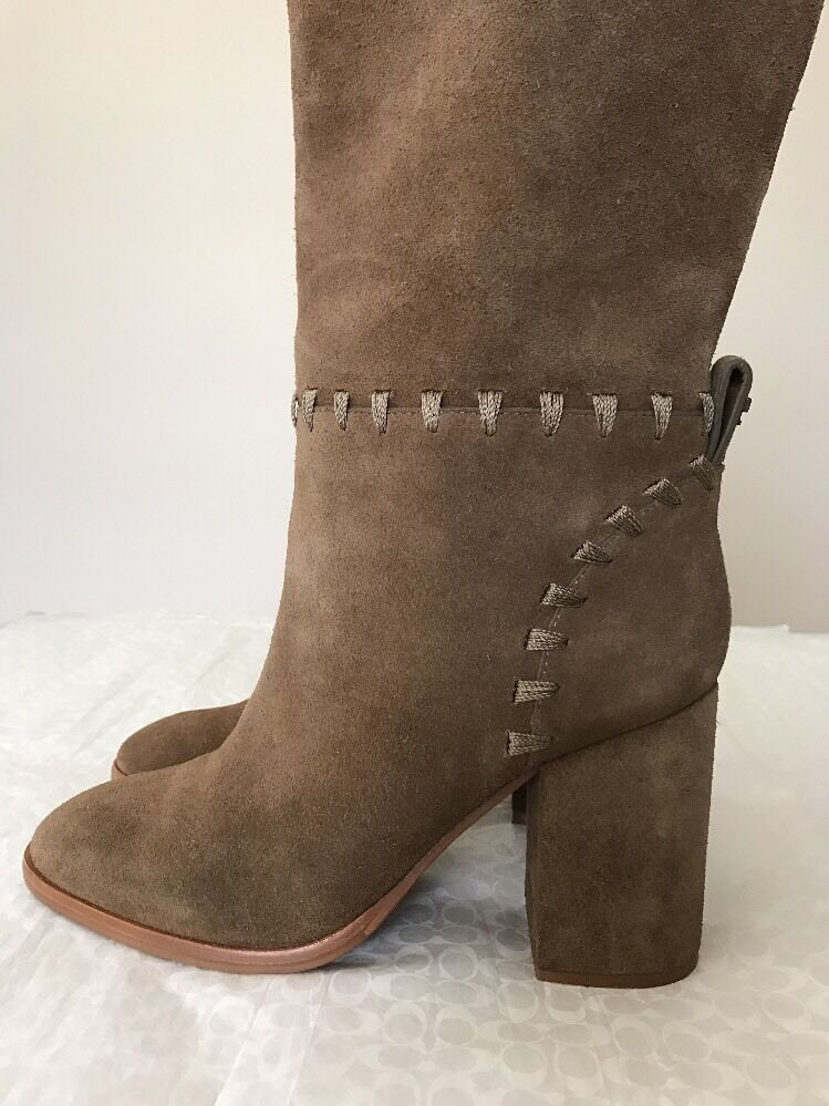 New Tory Burch Sz. 6.5 M Rock Suede River Rock M Stitched Block Heel Tall Stiefel 19fee2