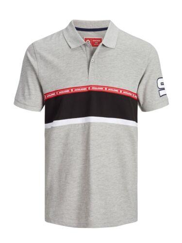 Jack /& Jones Core Polo Shirt Colour Block Logo Tape T-Shirt Tee Mens JCOWiskit