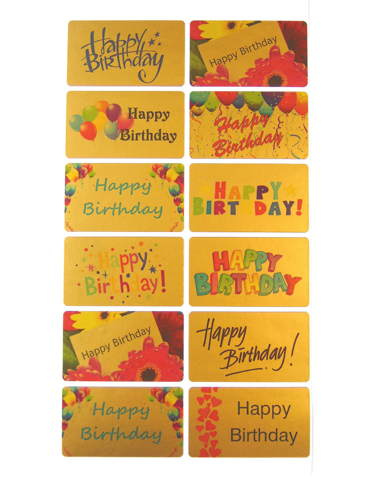 Large Gold Happy Birthday Greeting Stickers Envelopes-HBG5230 Labels for Cards