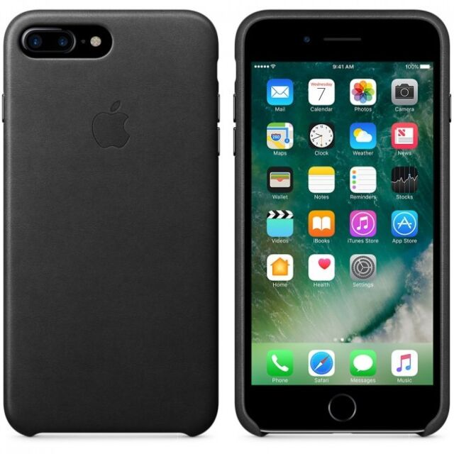 Apple iPhone 8 PLUS Leather Case /Cases official BLACK Leather / BLACK NEW