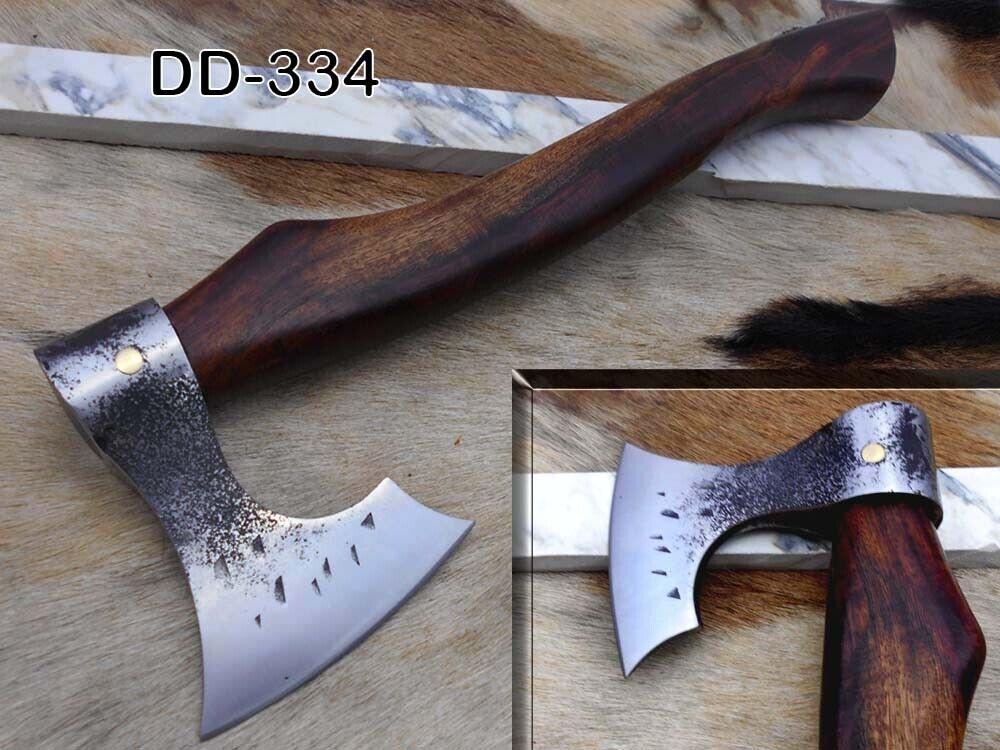 Cabin Axe, 15  long Hand Forg High carbon steel Bearded hiking axe, Cow sheath