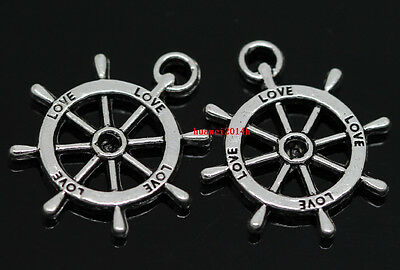 Wholesale lot 15pcs Tibet Silver two-sided rudder Charm Pendant Finding 23x20mm