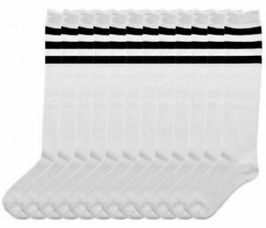 6 PAIRS ANGELINA REFEREE KNEE HIGH SOCKS WHITE WITH BLACK STRIPES #2539B 9-11